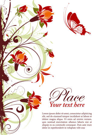 Grunge floral frame with butterfly, element for design, vector illustration Stock Vector - 9824031