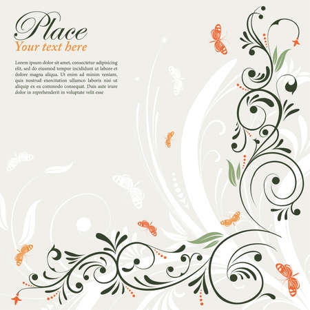 green leaves border: Decorative floral frame with butterfly, element for design, vector illustration