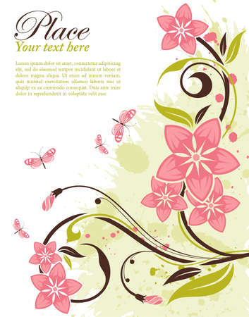 Grunge decorative floral frame with butterfly, element for design, vector illustration Stock Vector - 9824033