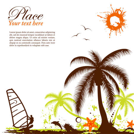 Abstract grunge summer background with windsurf, palm tree, starfish, element for design, vector illustration