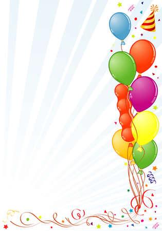 globos de cumplea�os: Marco de cumplea�os con globo, Streamer y sombrero de partido, elemento de dise�o, ilustraci�n de vectores