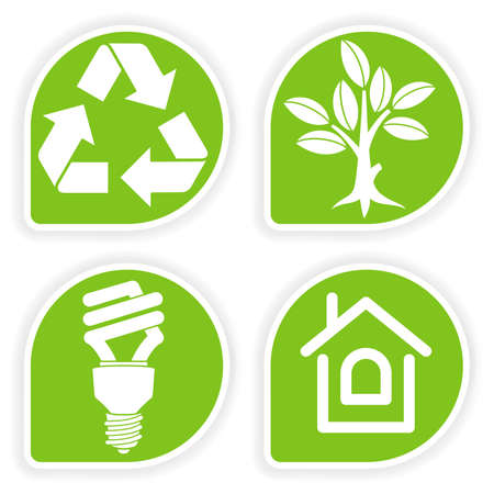 energy buttons: Collect sticker with environment icon, tree, leaf, light bulb and Recycling Symbol, vector illustration