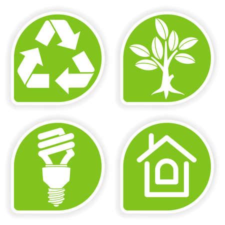 ahorro energetico: Recoger la pegatina con el icono de entorno, �rbol, hoja, bombilla y s�mbolo de reciclaje, ilustraci�n vectorial
