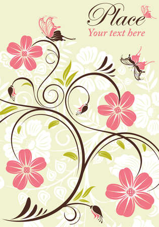 Flower frame with butterfly, element for design, vector illustration Vector