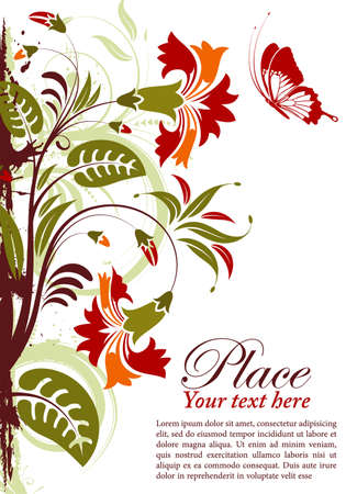 Grunge floral frame with butterfly, element for design, vector illustration Stock Vector - 9991511