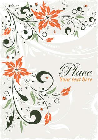 scroll border: Grunge floral frame with ladybug, element for design