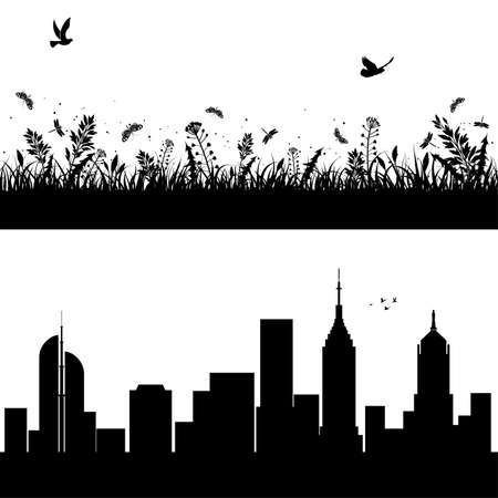 Silhouettes urban background with skyscrapers and Nature background, element for design Illustration