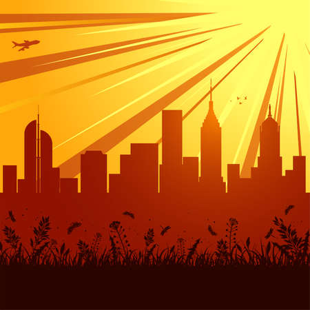 Urban background with skyscraper, grass and flower, element for design Vector