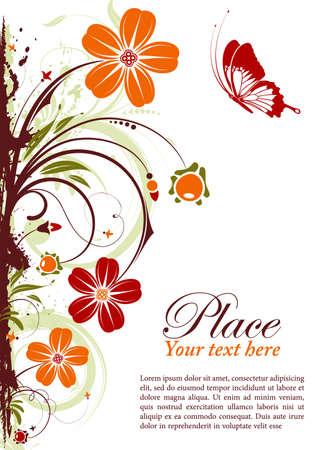 grens: Grunge floral frame met vlinder, element voor ontwerp Stock Illustratie