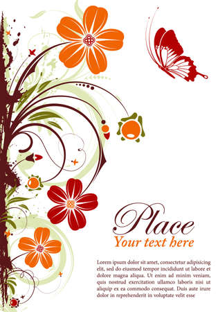 Grunge floral frame with butterfly, element for design
