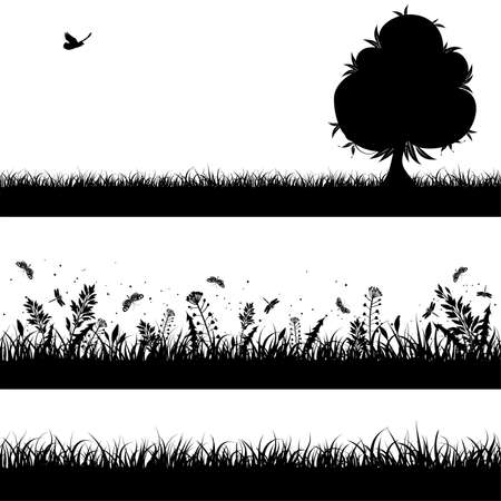 recoger: Recopilar fondo transparente de naturaleza con hierba, bush y árbol, elemento de diseño