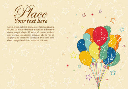 Grunge Retro Party Time theme with Balloon and Star, element for design Illustration