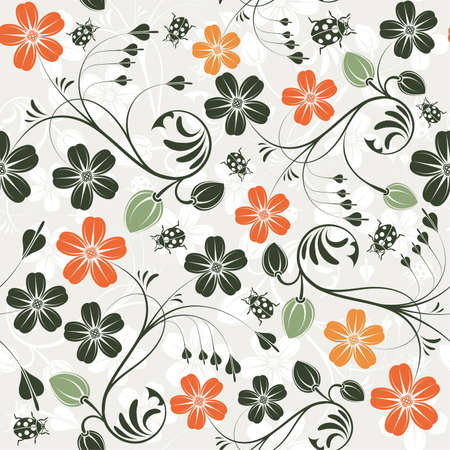 Flower seamless pattern with ladybug, element for design Stock Vector - 10071353