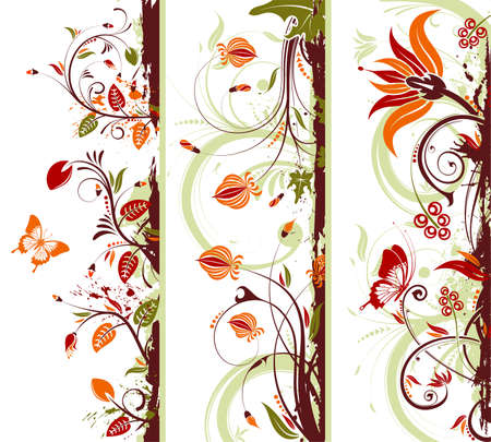 Collect Grunge floral frame with butterfly, element for design