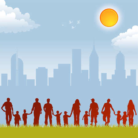 Big collect silhouettes of parents with children on urban background, element for design