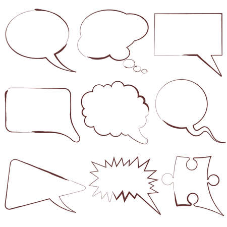 chat balloon: Set of speech and thought bubbles, element for design