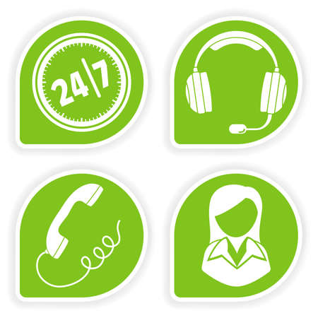 servicio al cliente: Recopilar pegatina con icono de mujer y consultor de negocios