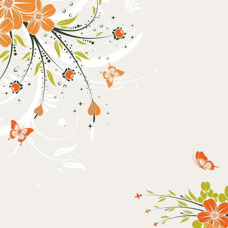butterfly border: Floral Background with butterfly, element for design, vector illustration