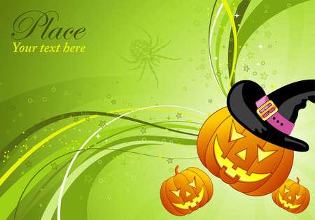 calabaza: Fondo de Halloween con el patrón de calabaza y ola, elemento de diseño, ilustración vectorial Vectores