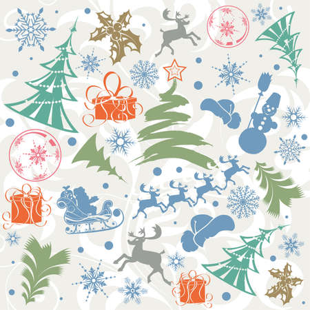 Christmas background with Santa, snowman, snowflakes, element for design, vector illustration Illustration