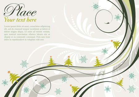 Christmas Background with Christmas Tree and Wave Pattern, element for design, vector illustration
