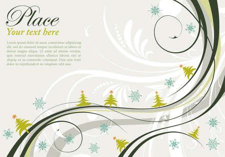 Sfondo di Natale con albero di Natale e Motivo a onde, elemento per la progettazione, illustrazione vettoriale Vettoriali