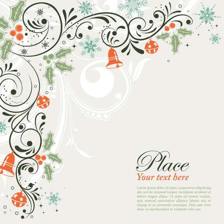 campanas de navidad: Marco de Navidad con copos de nieve y berry holly, elemento de dise�o, ilustraci�n de vectores