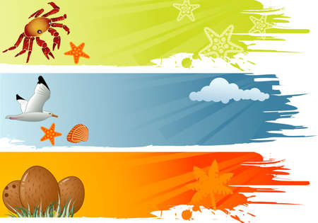 Three summer banner with coconut, dolphin, crab, starfish, seagull vector illustration Stock Vector - 10173675