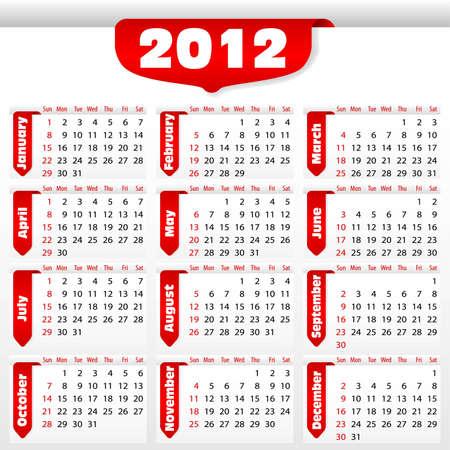 Calendar for 2012 with sticker, element for design, vector illustration Stock Vector - 10173673