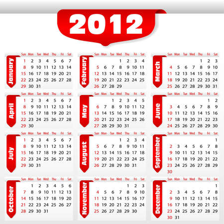 Calendar for 2012 with sticker, element for design, vector illustration Stock Vector - 10173673