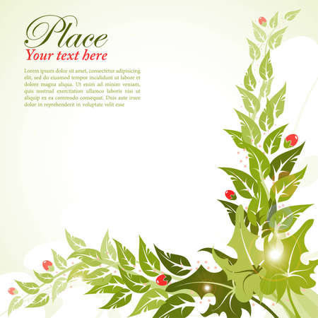 Floral frame with leaf and berry, element for design Stock Vector - 10240616