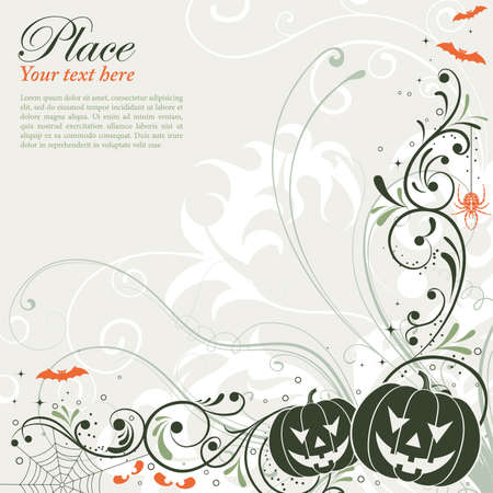 Halloween background with bat, pumpkin, floral