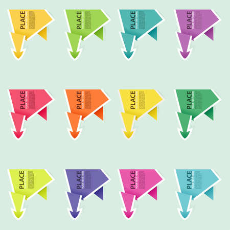 Collect Paper Origami Arrow, element for design, vector illustration Vector