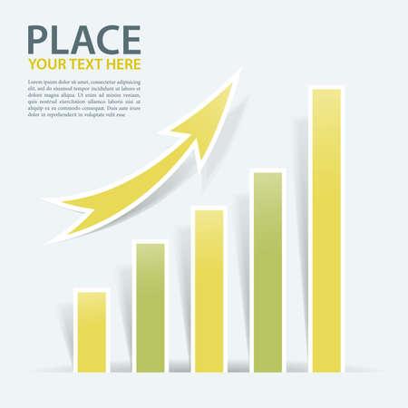 graficos de barras: Gr�ficos de negocios con flecha, ilustraci�n vectorial Vectores