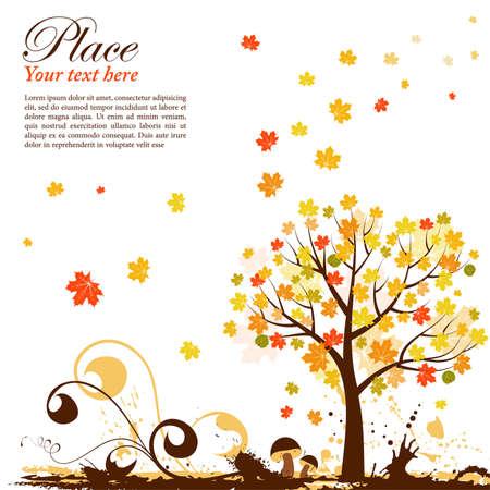 Grunge Background autunno con albero e castagno, elemento di design, vector illustration