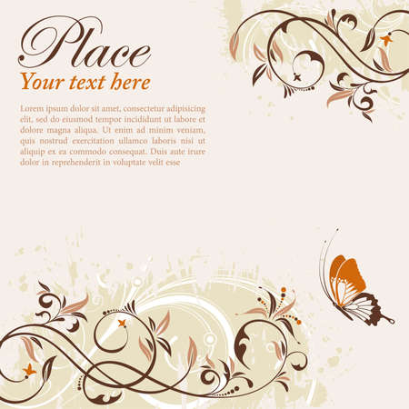 Flower Frame with Butterfly, element for design, vector illustration Stock Vector - 10297309