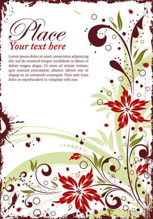 abstract floral background: Grunge floral frame with ladybug, element for design, vector illustration