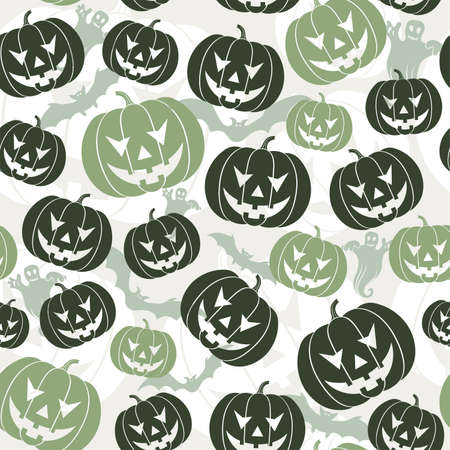 Halloween seamless background with bats, ghost & pumpkin, vector illustration Vector