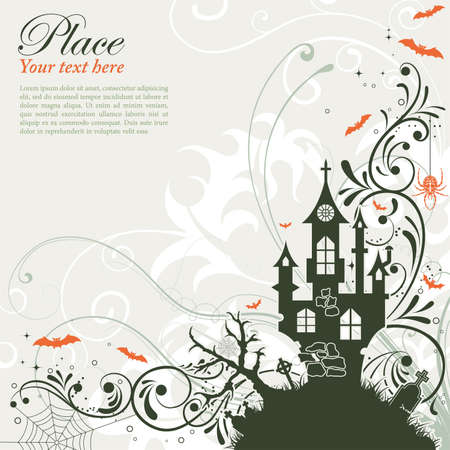 castle silhouette: Halloween background with bat and castle, element for design, vector illustration Illustration