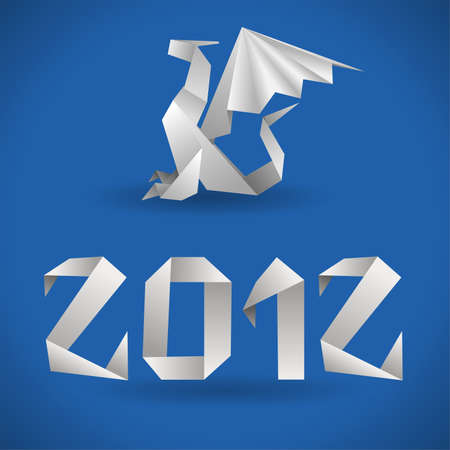 Origami Dragon with 2012 Year  Vector