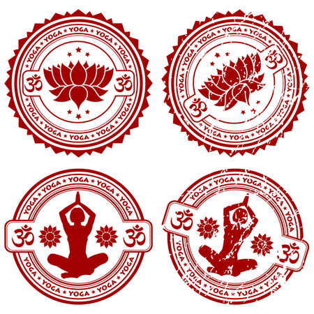 white lotus flower: Collection grunge Yoga stamps, element for design