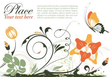 Cornice floreale grunge con farfalla  Vettoriali