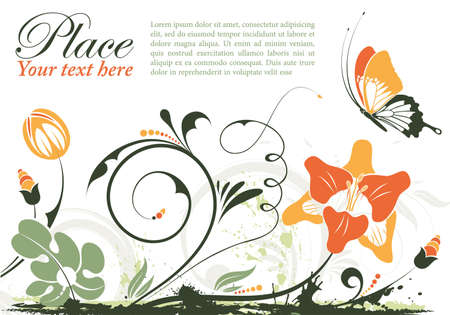 Grunge floral frame with butterfly  Stock Vector - 10377178