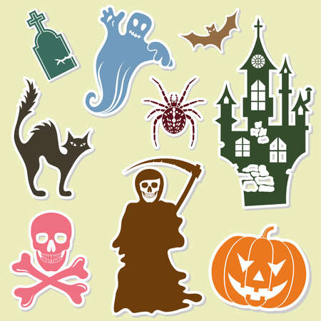 tombstone: Big Halloween collection sticker with bat, pumpkin, ghost, element for design