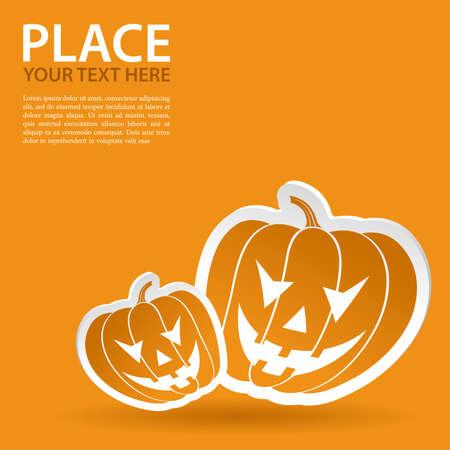 Halloween sticker with pumpkin  Vector