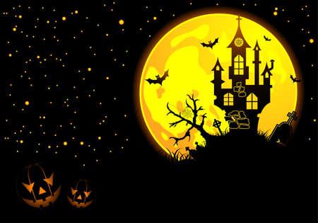 calabazas de halloween: Fondo de Halloween con el bate, calabaza, Castillo, elemento de dise�o  Vectores