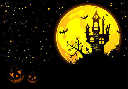 halloween castle: Halloween background with bat, pumpkin, castle, element for design  Illustration