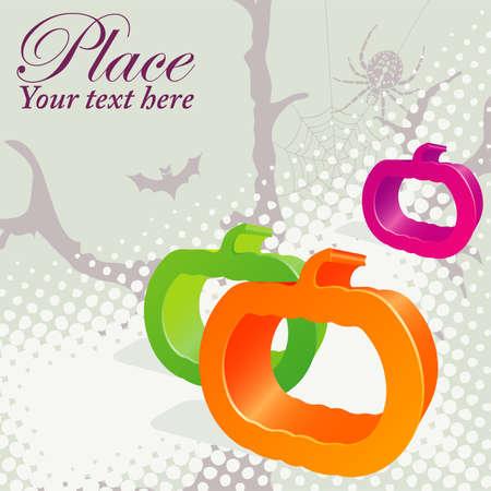 Halloween Background with pumpkin, bat, element for design Stock Vector - 10377126