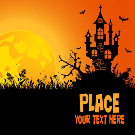 halloween tree: Halloween background with House  Illustration