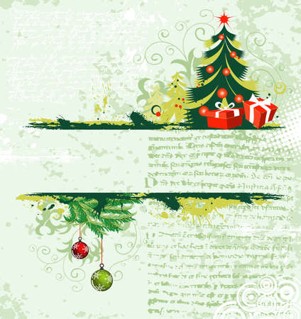 Grunge christmas frame with tree Stock Vector - 10377242